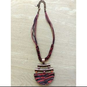 Red and black art deco beaded pendant necklace